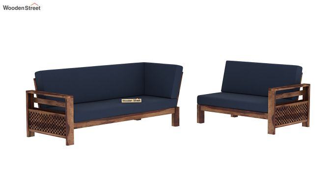 Vigo L-Shaped Wooden Sofa (Indigo Ink, Teak Finish)-3