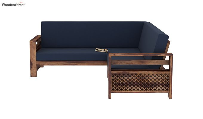 Vigo L-Shaped Wooden Sofa (Indigo Ink, Teak Finish)-4