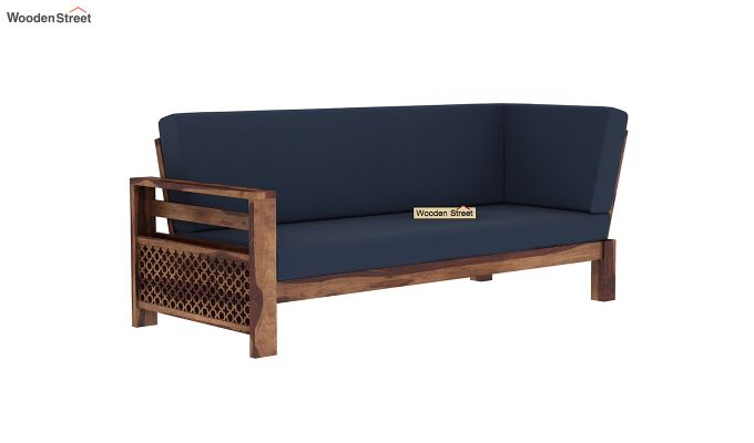 Vigo L-Shaped Wooden Sofa (Indigo Ink, Teak Finish)-6