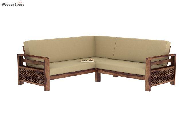 Vigo L-Shaped Wooden Sofa (Irish Cream, Teak Finish)-2