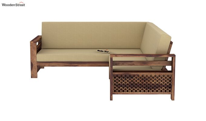 Vigo L-Shaped Wooden Sofa (Irish Cream, Teak Finish)-4
