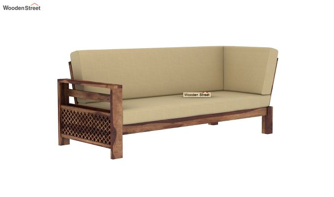 Vigo L-Shaped Wooden Sofa (Irish Cream, Teak Finish)-6