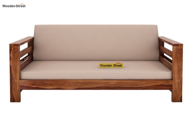 Vigo 3 Seater Wooden Sofa (Teak Finish)-2