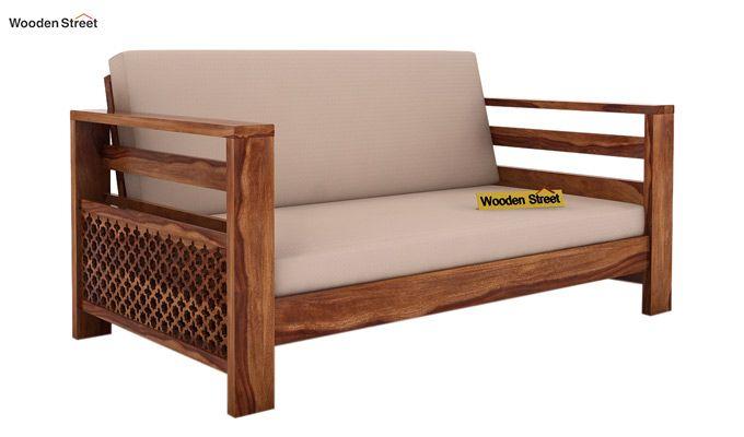 Vigo 2 Seater Wooden Sofa (Teak Finish)-1