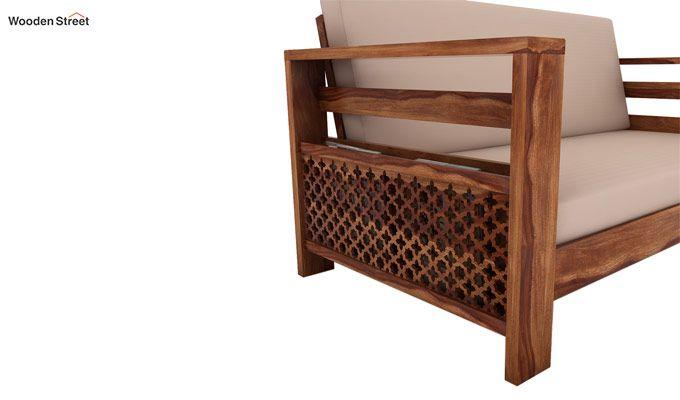 Vigo 2 Seater Wooden Sofa (Teak Finish)-3