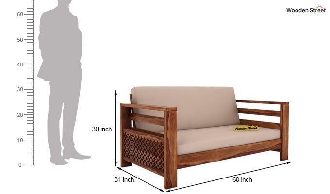 Vigo 2 Seater Wooden Sofa (Teak Finish)-4