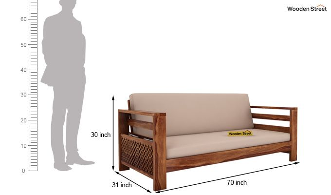 Vigo 3 Seater Wooden Sofa (Teak Finish)-4