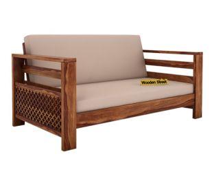 Vigo 2 Seater Wooden Sofa (Teak Finish)