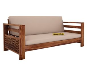 Vigo 3 Seater Wooden Sofa (Teak Finish)
