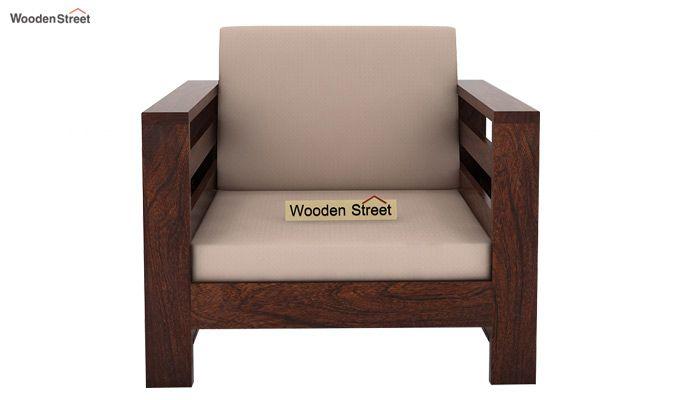 Vigo 1 Seater Wooden Sofa (Walnut Finish)-2