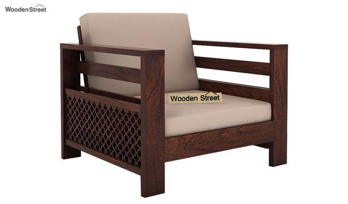 Vigo 1 Seater Wooden Sofa (Walnut Finish)-1