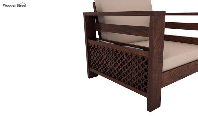 Vigo 1 Seater Wooden Sofa (Walnut Finish)-3