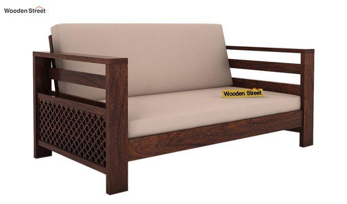 Vigo 2 Seater Wooden Sofa (Walnut Finish)-1