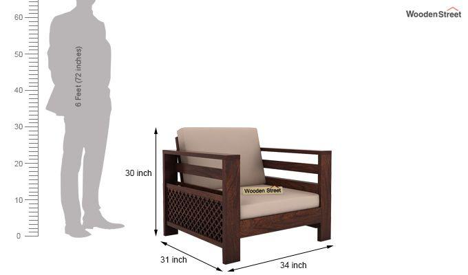 Vigo 1 Seater Wooden Sofa (Walnut Finish)-4