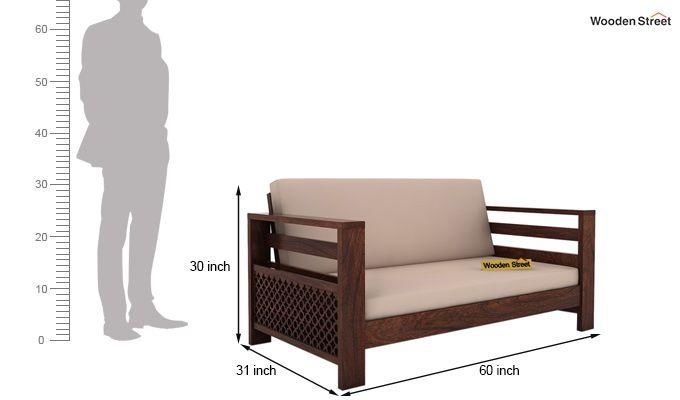 Vigo 2 Seater Wooden Sofa (Walnut Finish)-4