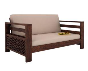 Vigo 2 Seater Wooden Sofa (Walnut Finish)