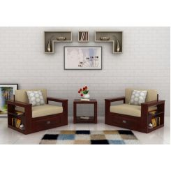 Wendel Wooden Sofa 1+1 (Mahogany Finish)