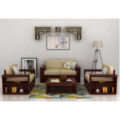 Wendel Wooden Sofa 2+1+1 (Mahogany Finish)