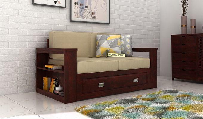 Wendel 2 Seater Sofa With Storage (Mahogany Finish)-1