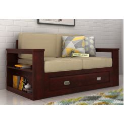 Wendel 2 Seater Sofa With Storage (Mahogany Finish)