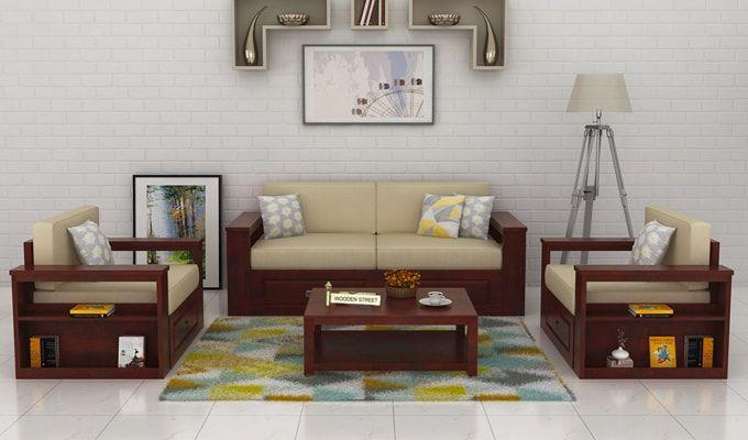 Wendel Wooden Sofa 3+1+1 (Mahogany Finish)-1