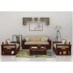 Wendel Wooden Sofa 3+1+1 (Mahogany Finish)