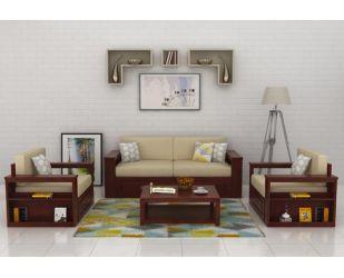Wendel Wooden Sofa 3+1+1 (Mahogany Finish)