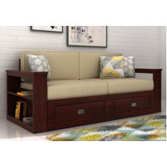 Wendel 3 Seater Sofa With Storage (Mahogany Finish)