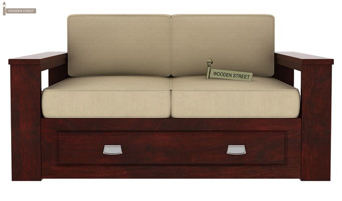 Wendel Wooden Sofa 2+1+1 (Mahogany Finish)-5