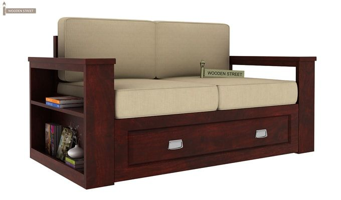 Wendel Wooden Sofa 2+1+1 (Mahogany Finish)-4