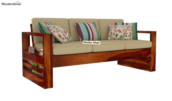 Winster 3 Seater Wooden Sofa (Honey Finish)-2