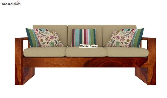 Winster 3 Seater Wooden Sofa (Honey Finish)-3