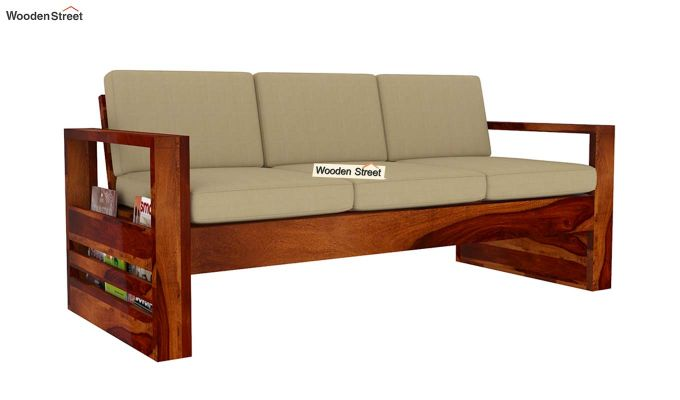 Winster 3 Seater Wooden Sofa (Honey Finish)-4