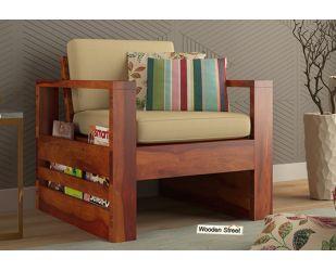 Winster 1 Seater Wooden Sofa (Honey Finish)