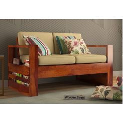 Winster 2 Seater Wooden Sofa (Honey Finish)