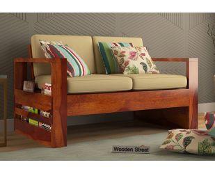 Winster 2 Seater Wooden Sofa (Honey Finish)
