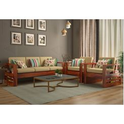 Winster Wooden Sofa 3+1+1 Sets (Honey Finish)
