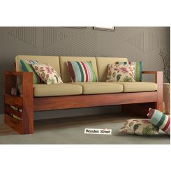 Winster 3 Seater Wooden Sofa (Honey Finish)