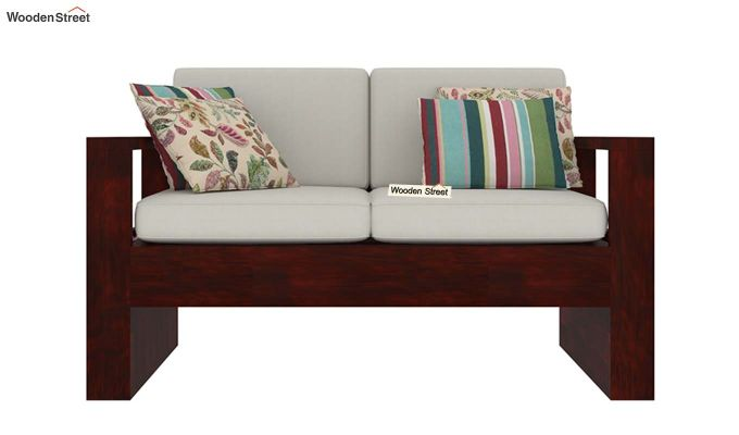 Winster 2 Seater Wooden Sofa (Mahogany Finish)-2