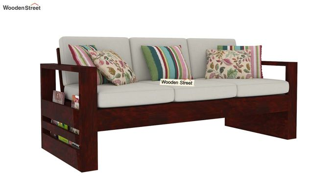 Winster 3 Seater Wooden Sofa (Mahogany Finish)-1