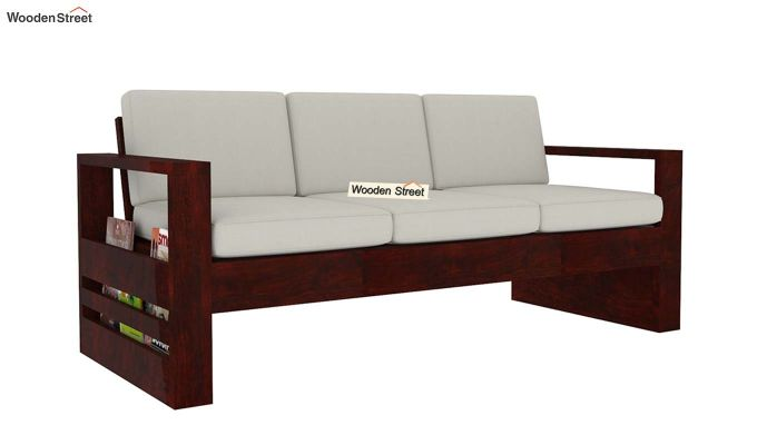 Winster 3 Seater Wooden Sofa (Mahogany Finish)-3