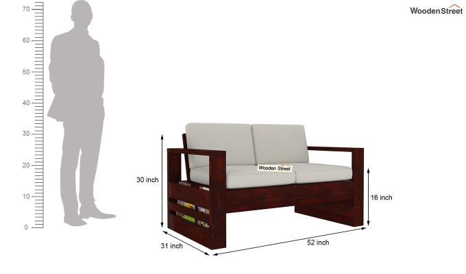 Winster 2 Seater Wooden Sofa (Mahogany Finish)-4