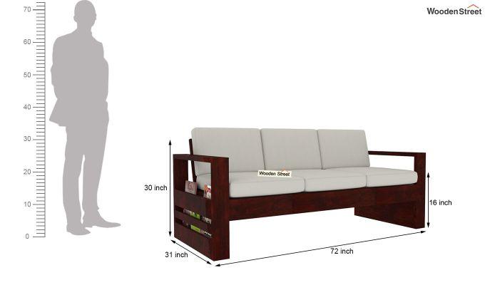 Winster 3 Seater Wooden Sofa (Mahogany Finish)-4