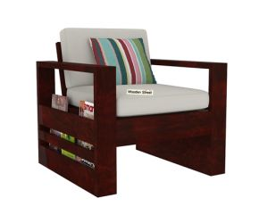 Winster 1 Seater Wooden Sofa (Mahogany Finish)