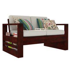 Winster 2 Seater Wooden Sofa (Mahogany Finish)