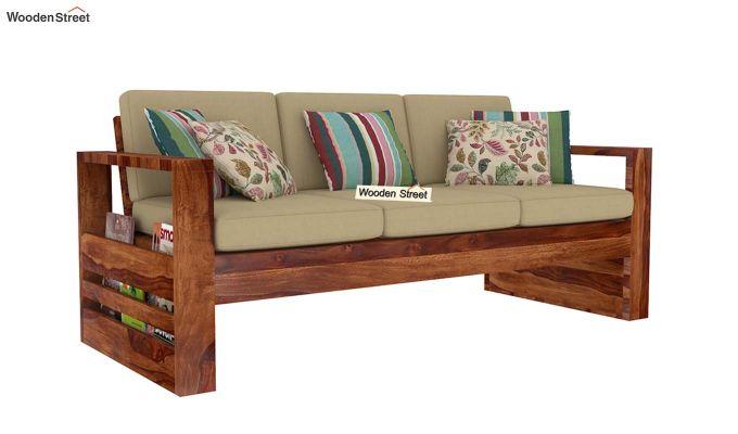 Winster 3 Seater Wooden Sofa (Teak Finish)-1