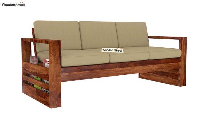 Winster 3 Seater Wooden Sofa (Teak Finish)-3