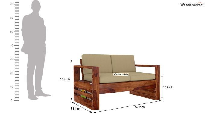 Winster 2 Seater Wooden Sofa (Teak Finish)-4