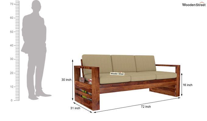 Winster 3 Seater Wooden Sofa (Teak Finish)-4