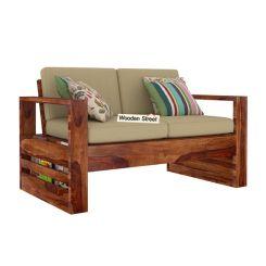 Winster 2 Seater Wooden Sofa (Teak Finish)